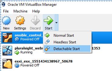 Oracle VirtualBox Detachable start